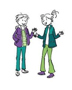 kinderen in gesprek (tekening)